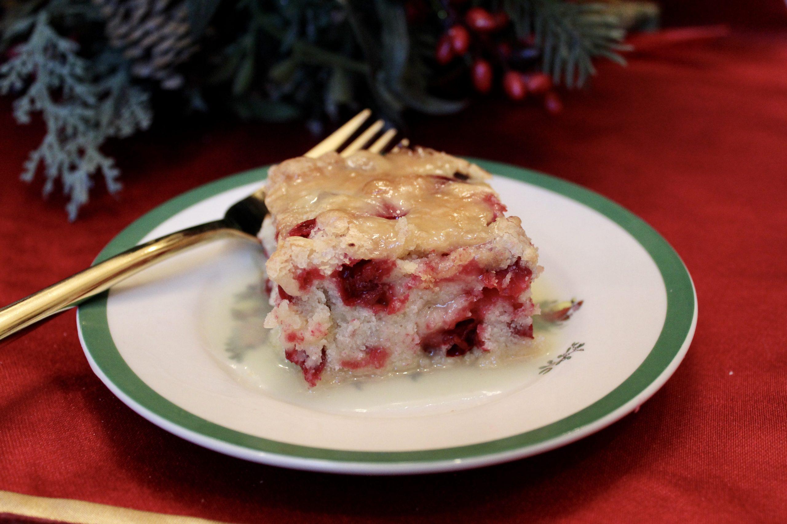 Cranberry Cake with Cream Sauce
